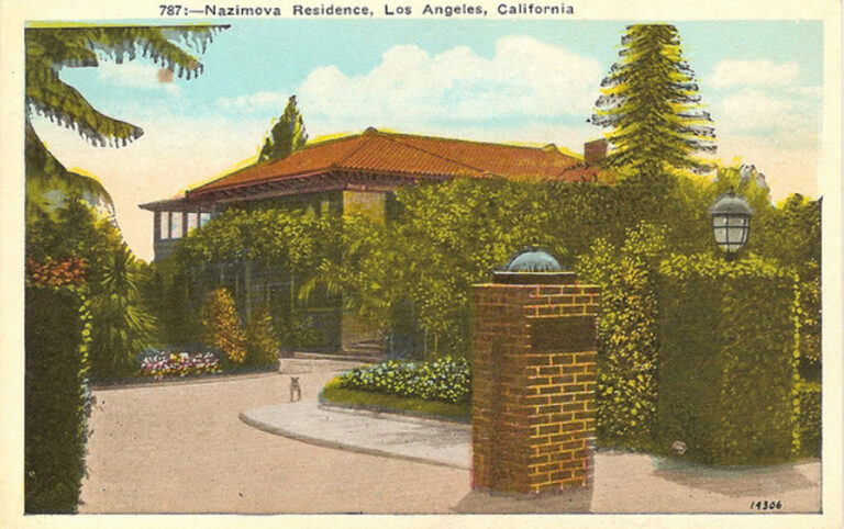 Nazimova's Hayvenhurst shown on a postcard for movie fans - note small dog in the driveway, circa 1918