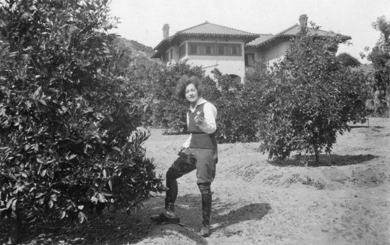 Nazimova in the citrus grove at Hayvenhurst, possibly for the same magazine photoshoot, circa 1918