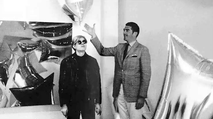 Irving Blum, Ferus Gallery director, during Andy Warhol's first-ever commercial gallery exhibit in July 1962 at 723 N. La Cienega Blvd. (in the unincorporated West Hollywood community)