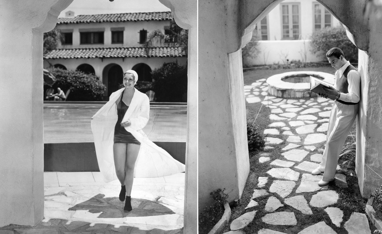 Left: Nancy Kelly, a Fox contract player, fresh from a swim; right: Henry Wilcoxon, an actor under contract to Cecil B. DeMille, reading in an archway