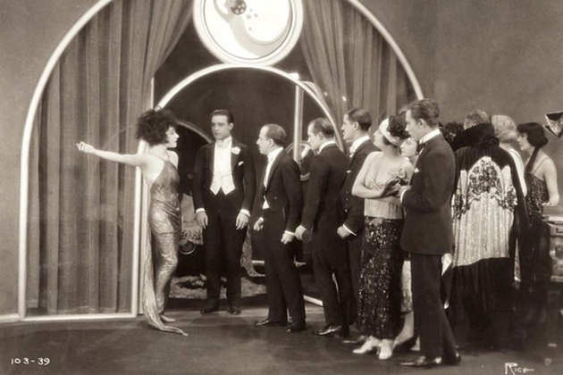 """Alla Nazmova (left) and Rudolph Valentino (center) in her production of """"Camille,"""" 1921"""