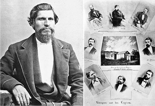 """Left: Tiburcio Vasquez; right: A poster celebrating his arrest at """"Greek George"""" Caralambo's adobe cabin (center) at what is now Melrose Place in West Hollywood"""