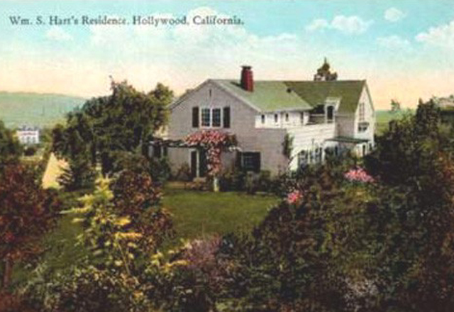 Picture postcard of the back of William S. Hart's as seen from Sunset Boulevard