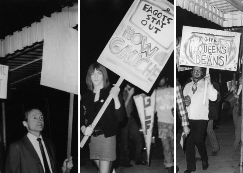 Left: Don Slater at protests; center and right: Gay Liberation Front protesters (Pat Rocco/ONE National Gay and Lesbian Archives at USC Libraries)