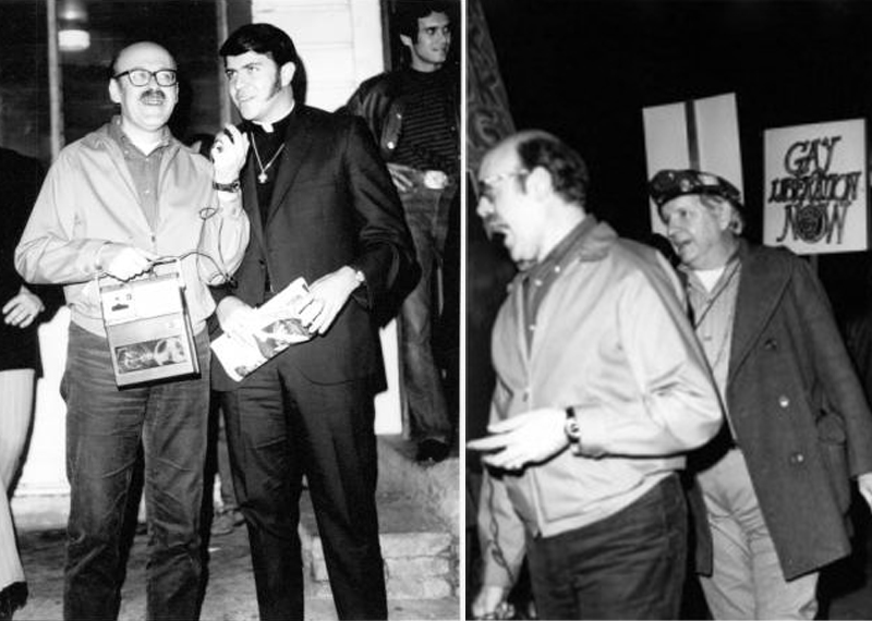 Left: Troy Perry (in clerical collar) with unknown journalist; right: Morris Kight behind the journalist at Barneys Protest (Pat Rocco/ONE National Gay and Lesbian Archives at USC Libraries)