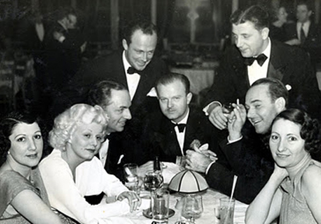 Cafe Trocadero on the Sunset Strip, 1935: From left, Edith Gwynne Wilkerson (wife of Trocadero owner Billy Wilkerson), Jean Harlow, William Powell, William Haines' husband Jimmy Shields (standing), Anderson Lawler (seated), unidentified man (standing), William Haines, Edith's sister Marge