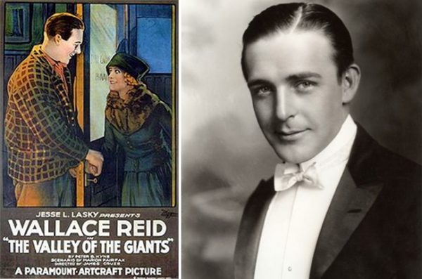 """Left, Wally's injury on the set of """"The Valley of the Giants"""" set his drug addiction in motion; right: Wallace Reid"""