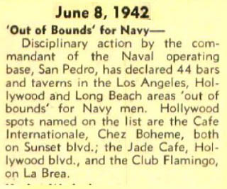 Variety notice about military placing nightclubs off limits in Los Angeles, including Club Flamingo, from June 8, 1942