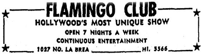 Newspaper ad for Club Flamingo