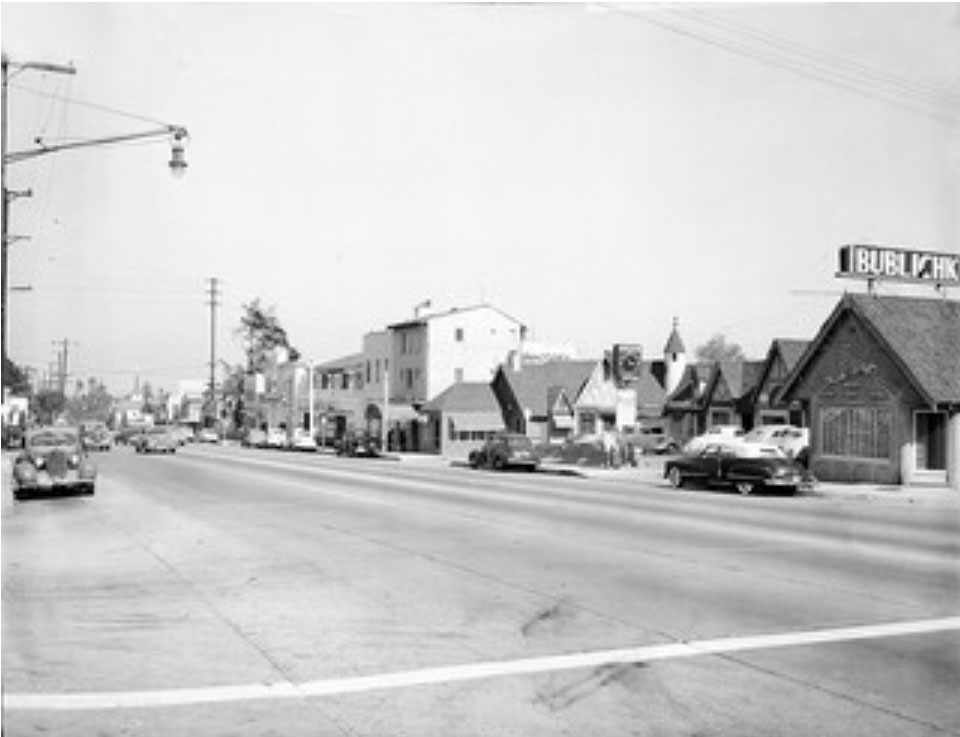 A rare photo of the Tudor-style English Village Shops in the 8800 block of the Sunset Strip, anchored to the right is the Russian restaurant 8840 Sunset English Village and Bublichiki Russian restaurant