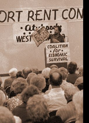 CITYHOOD In the late 1970s, a coalition primarily of seniors and gay activists coalesced around renters' rights and other issues. The movement culminated in a vote that established the city of West Hollywood in 1984.