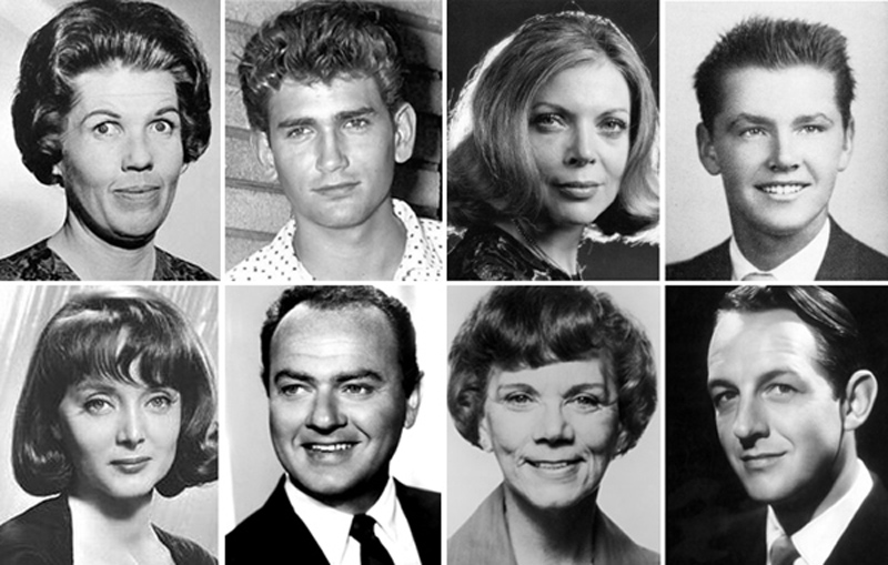 A few of the actors who appeared on the old theatre district stages, clockwise from top left: Kathleen Freeman, Michael Landon, Barbara Bain, Jack Nicholson, Carolyn Jones, Harvey Korman, Ellen Corby and William Schallert.
